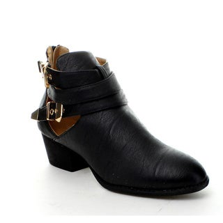 Wild Diva Women's 'Audrey-03' Buckle and Bands Ankle Booties