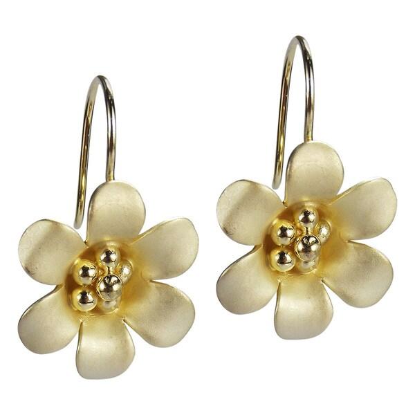 Satin Brush Summer Flower Gold Vermeil 925 Silver Earrings (Thailand)