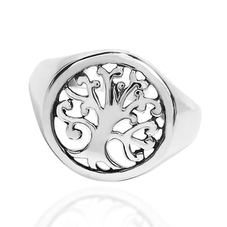 'Tree of Life' Sacred Symbol .925 Sterling Silver Ring (Thailand)