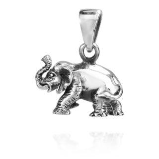 3D Wild Elephant .925 Sterling Silver Pendant (Thailand)