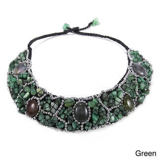 Mosaic Oval Agate Accents Natural Stone Bib Necklace (Thailand)