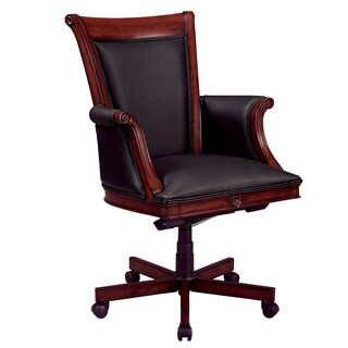 Executive High Back Chair with Sedona Cherry Wood/Upholstered Arms