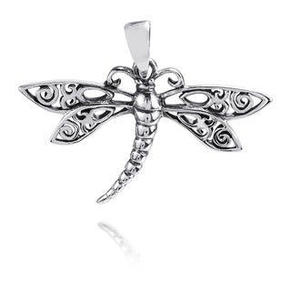 Swirl Filigree Wings Dragonfly Sterling Silver Pendant (Thailand)