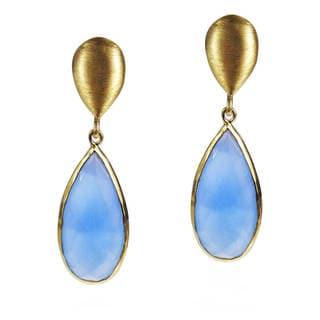 Teardrop Elegance Blue Chalcedony Gold over Silver Earrings (Thailand)