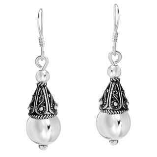 Balinese Ornate Ball Drop Dangle Sterling Silver Earrings (Thailand)