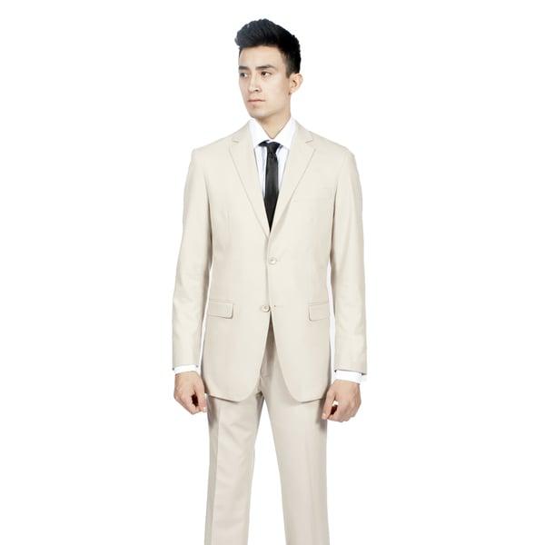 Ferrecci Men's Slim Fit Tan/ Bone 2-button Suit