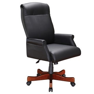 Roll Arm Executive Desk Chair with Black Leather Upholstery