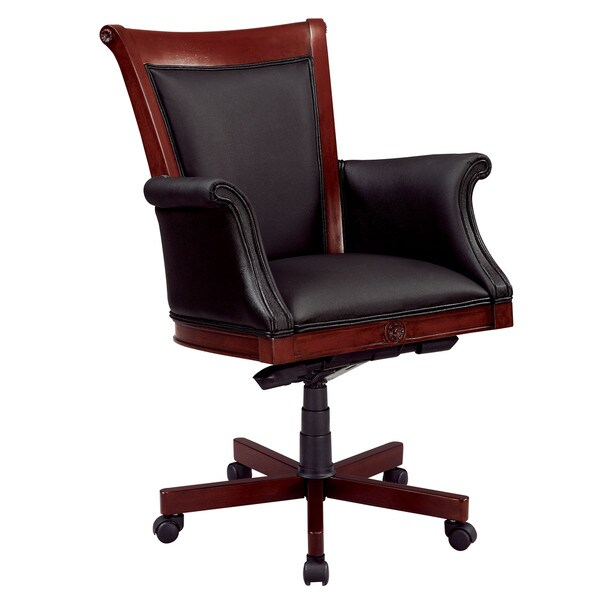 Executive High Back Chair with Upholstered Arms in Black Leather