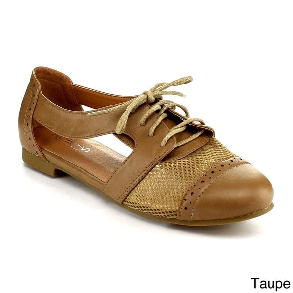 Refresh Women's 'Marty-02' Net-panel Lace-up Oxford Shoes