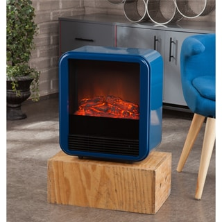 Holly and Martin Fasser Navy Blue Electric Fireplace