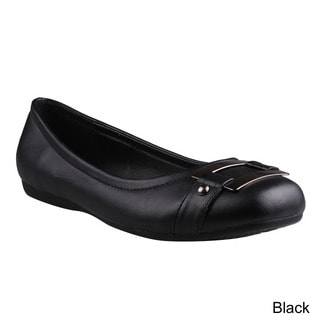 Refresh Women's 'Amber-01' Black Metal Accent Flats