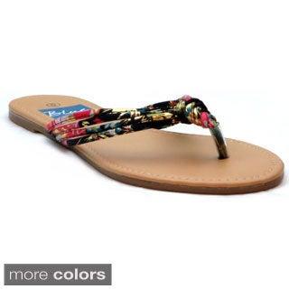 Blue Women's 'Kisa' Fabric Knot Flat Sandals