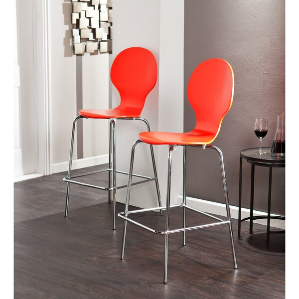 Holly Amp Martin Conbie Red Orange Barstools Set Of 2