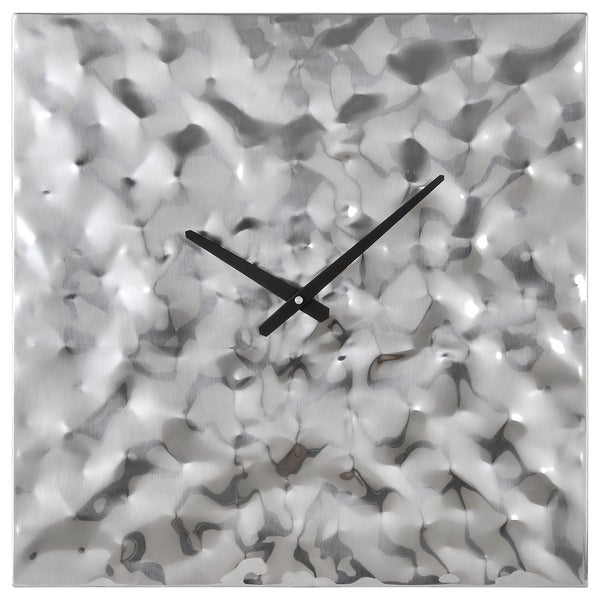 Couture Silver Metal Wall Square Clock