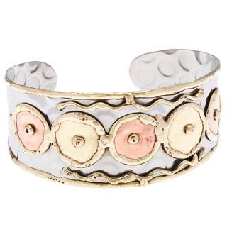 Handmade Stainless Steel Discs Fashion Cuff Bracelet (India)