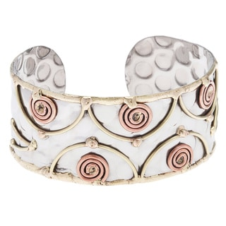 Handmade Stainless Steel Copper Coils Cuff Bracelet (India)
