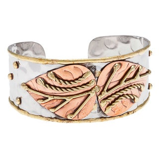 Handmade Stainless Steel Copper Leaves Fashion Cuff Bracelet (India)