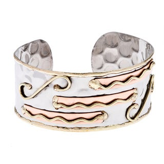 Handmade Stainless Steel Tri-tone Hammered Abstract Cuff Bracelet (India)