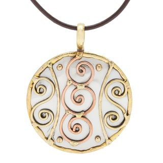 Handmade Stainless Steel with Copper and Brass Swirls Pendant (India)
