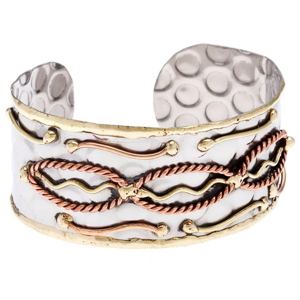 Handmade Stainless Steel Copper Abstract Design Cuff Bracelet (India)