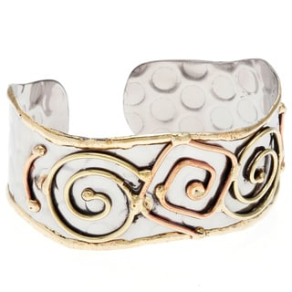 Handmade Stainless Steel Tri-tone Abstract Cuff Bracelet (India)