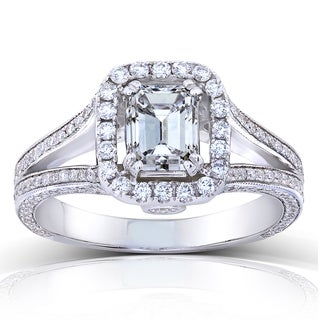 Annello 18k White Gold Certified 1 3/4ct TDW Emerald-cut Diamond Engagement Ring (H-I, SI1)