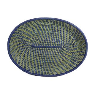 Hand-woven Blue Sweetgrass and Banana Fiber Oval Basket (Rwanda)