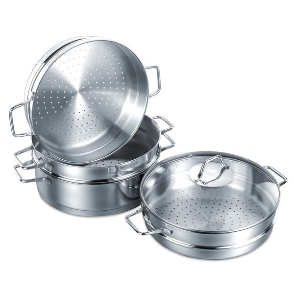 Korkmaz Provita Stainless Steel 4 Quart Capsulated Steamer - 2 Piece