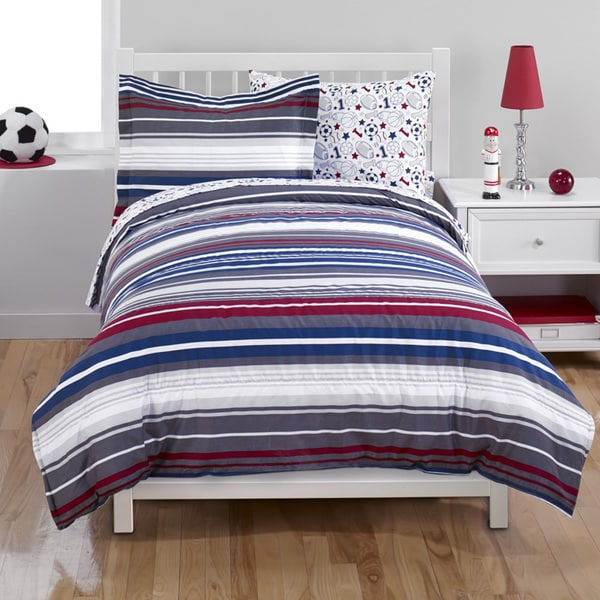 Blue/Red Stripe 2-piece Comforter Set