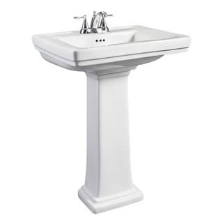 Hathaway Small White Porcelain Pedestal Sink