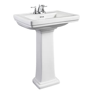 Hathaway Small White Porcelain Pedestal Sink