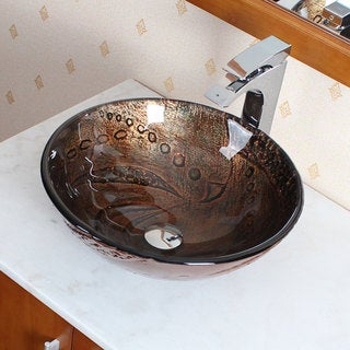 Elite Tempered Glass Hot Melt Multicolor Pattern Vessel Sink