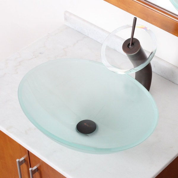Elite Frosted Tempered Bathroom Oval Glass Vessel Sink