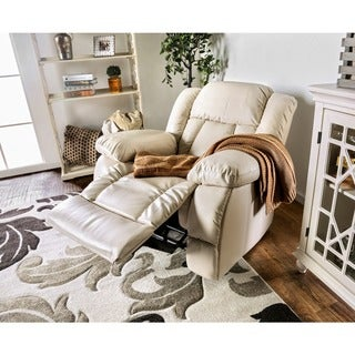 Furniture of America Barbadalo Bonded Leather Match Glider Recliner, Ivory