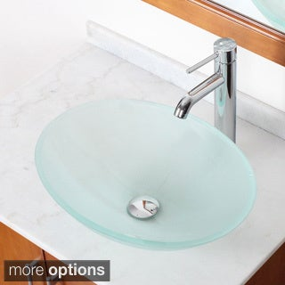 Elite GD12FF371023 Modern Design Tempered Glass Bathroom Vessel Sink with Faucet Combo