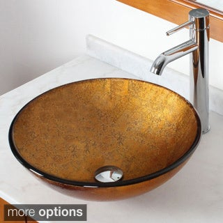 Elite 1201F371023 Metallic Bronze Foil Handcrafted Vessel Sink with Faucet Combo