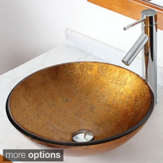 Elite 12012659 Metallic Bronze Foil Handcrafted Vessel Sink with Faucet Combo