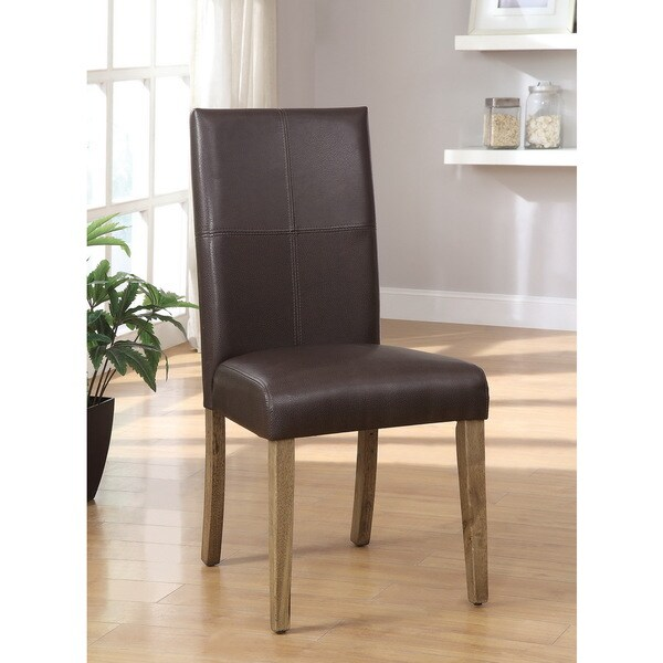 Furniture of America Seline Dark Brown Leatherette Dining Chairs (Set of 2)