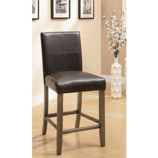 Furniture of America Seline Dark Brown Leatherette Counter Height Dining Chairs (Set of 2)