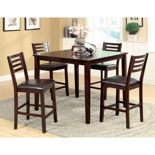 Furniture of America Amazi 5-Piece Counter Height Dining Set, Espresso