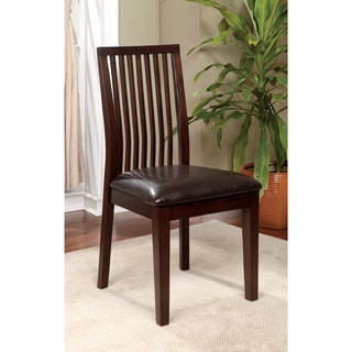 Furniture of America Copter Walnut & Padded Leatherette Dining Chairs (Set of 2)