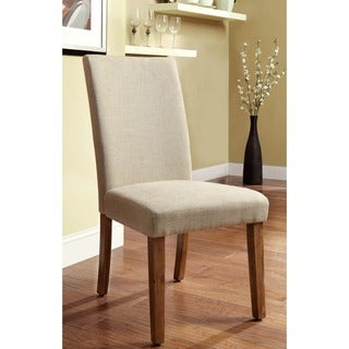 Furniture of America Seline Ivory Linen Dining Chairs (Set of 2)