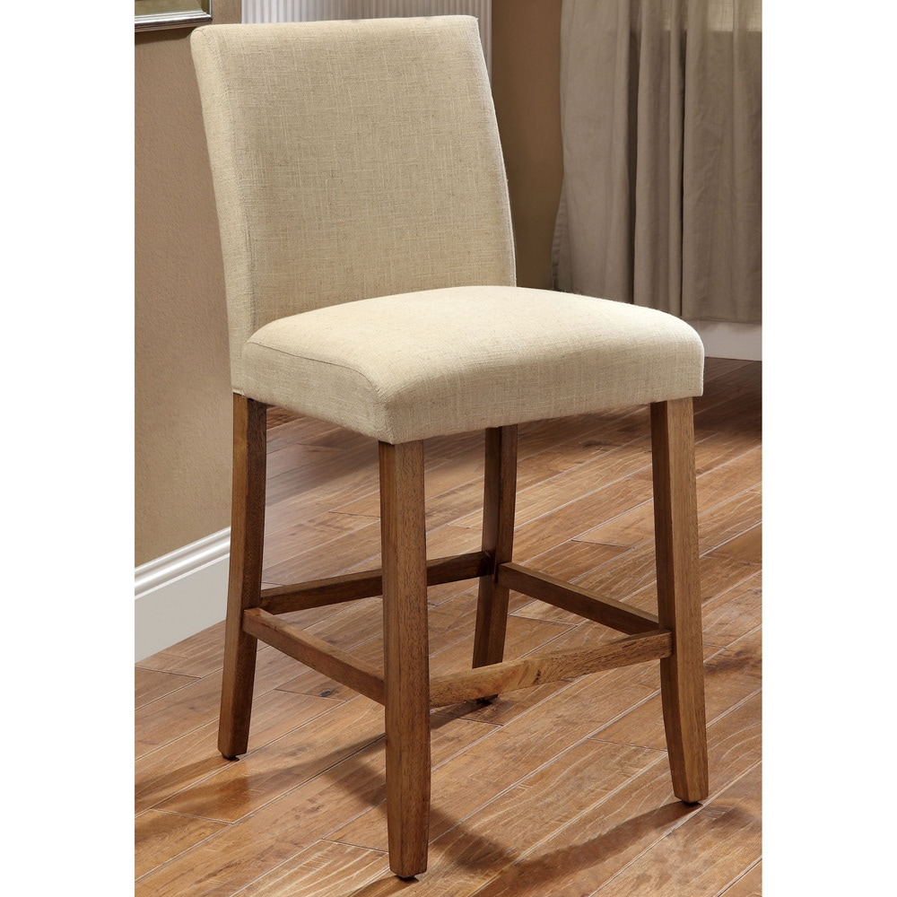 Furniture of America Seline Ivory Linen Counter Height Dining Chairs (Set of 2) at Sears.com