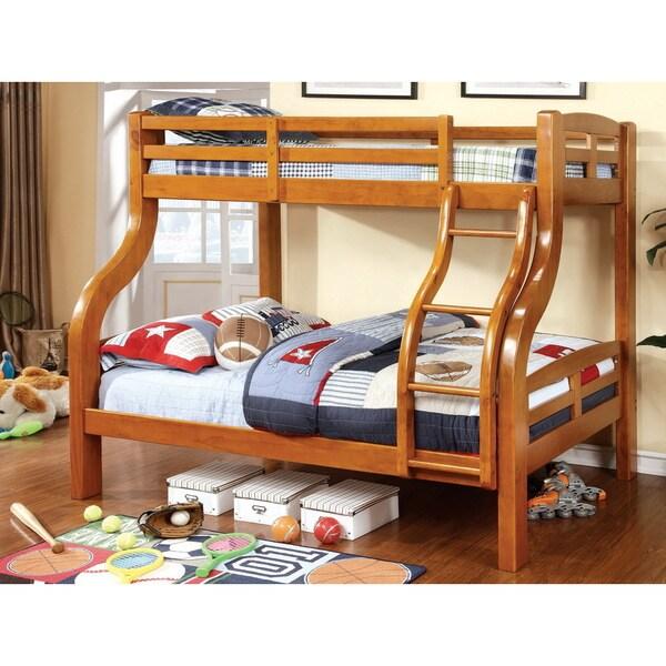 Furniture of America Utaria Curvy Twin Over Full Bunk Bed, Oak