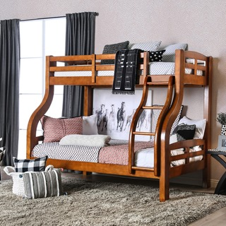 Furniture of America Utaria Curvy Twin Over Full Bunk Bed, Oak