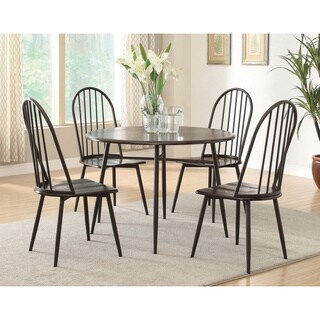 Furniture of America Galliant 5-piece Metal & Dark Oak Round Dining Set