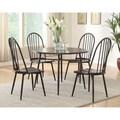 Furniture of America Galliant 5-piece Metal & Dark Oak Round Dining Set