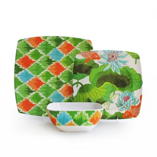 Multi-floral Tropical Print 12-piece Dinnerware Set