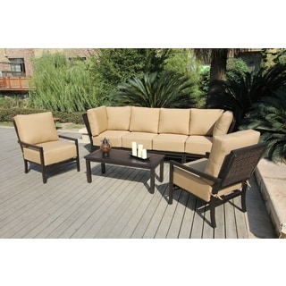 'Brookfield' Midnight Black and Gold Deep Seating Outdoor Sofa Set
