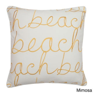 Beach 18-inch Square Embroidered Feather Fill Pillow